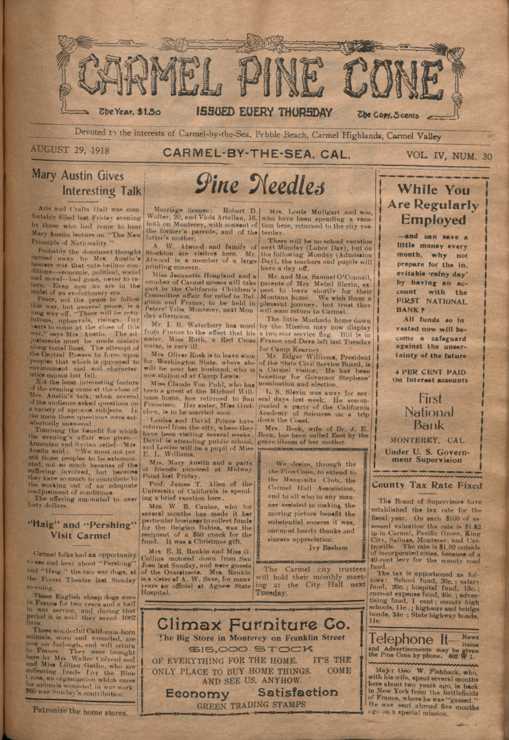 front page of the                 August 29, 1918, Carmel Pine Cone
