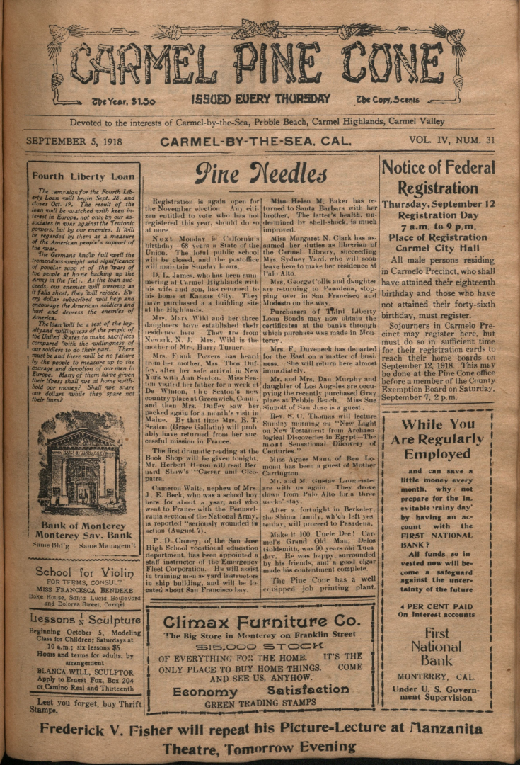 Front page of the                 September 5, 1918, Carmel Pine Cone