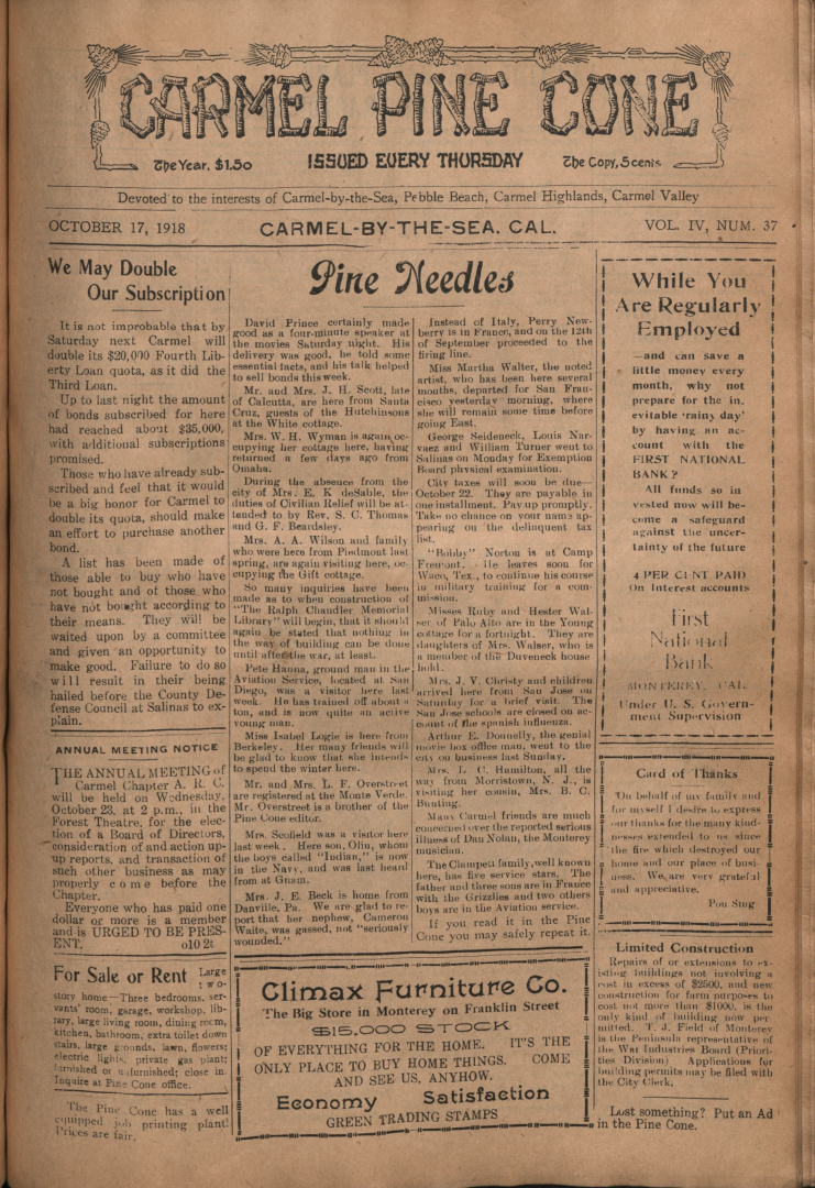 front page of the                 October 17, 1918, Carmel Pine Cone