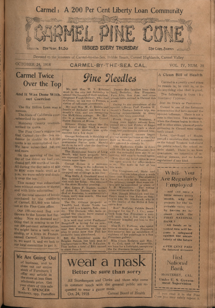 front page of the                 October 24, 1918, Carmel Pine Cone