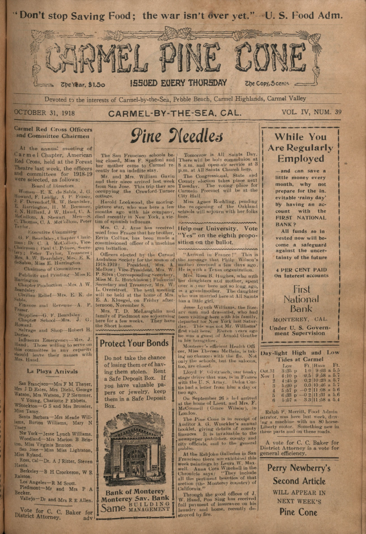 front page of the                 October 31, 1918, Carmel Pine Cone