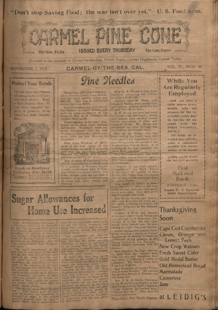 front page of the                 November 7, 1918, Carmel Pine Cone