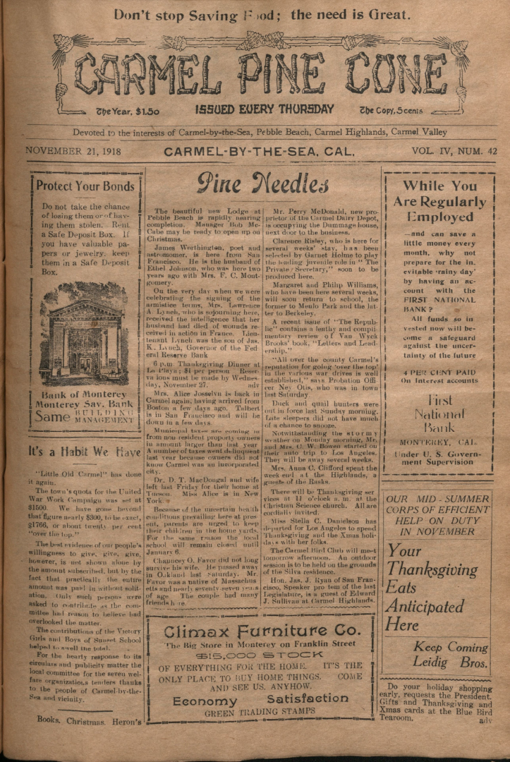 front page of the                 November 21, 1918, Carmel Pine Cone