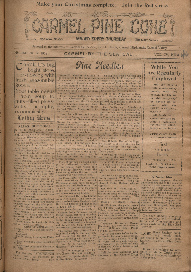 Front page of the                 December 19, 1918, Carmel Pine Cone