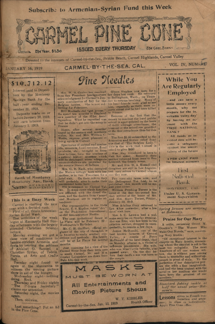 front page of the                 January 16, 1919, Carmel Pine Cone