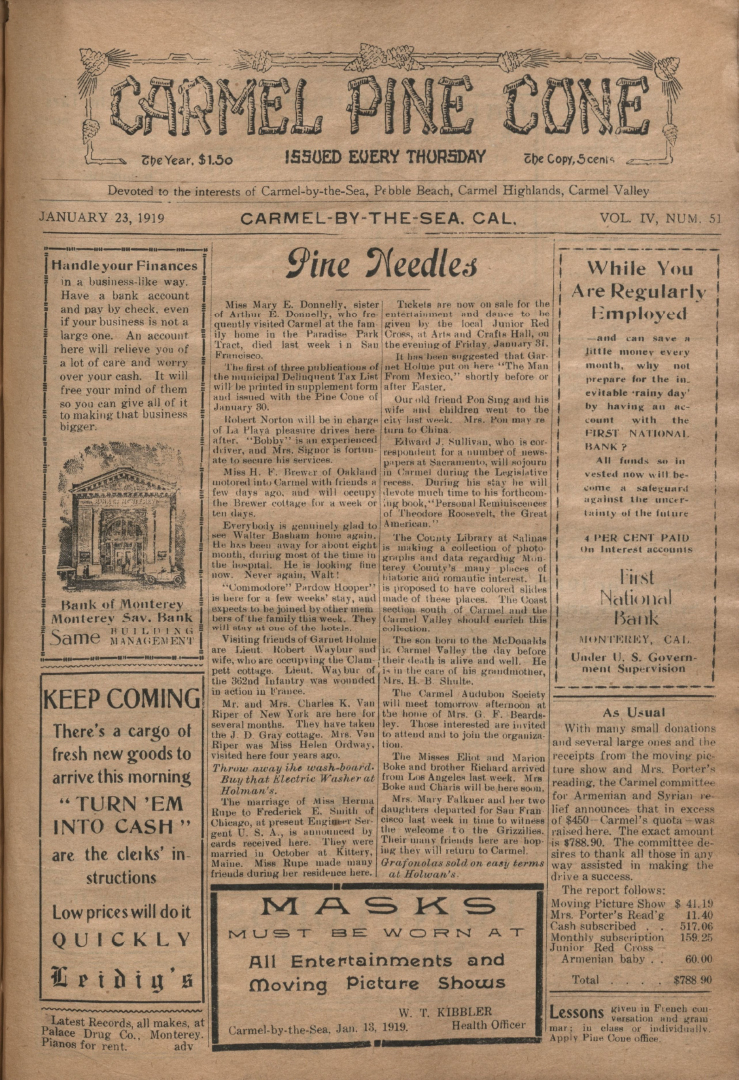 front page of the                 January 23, 1919, Carmel Pine Cone
