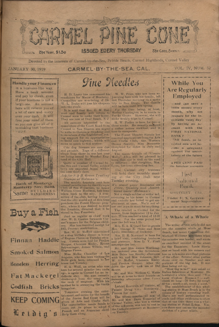 front page of the                 January 30, 1919, Carmel Pine Cone