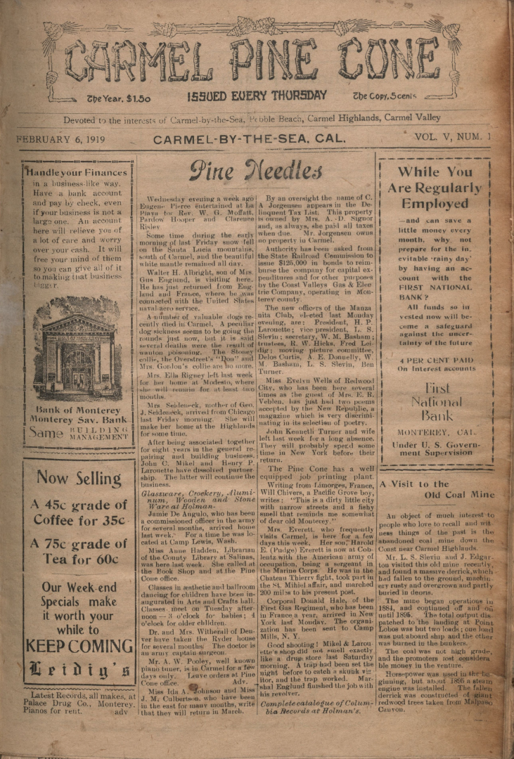 front page of the                 February 6, 1919, Carmel Pine Cone