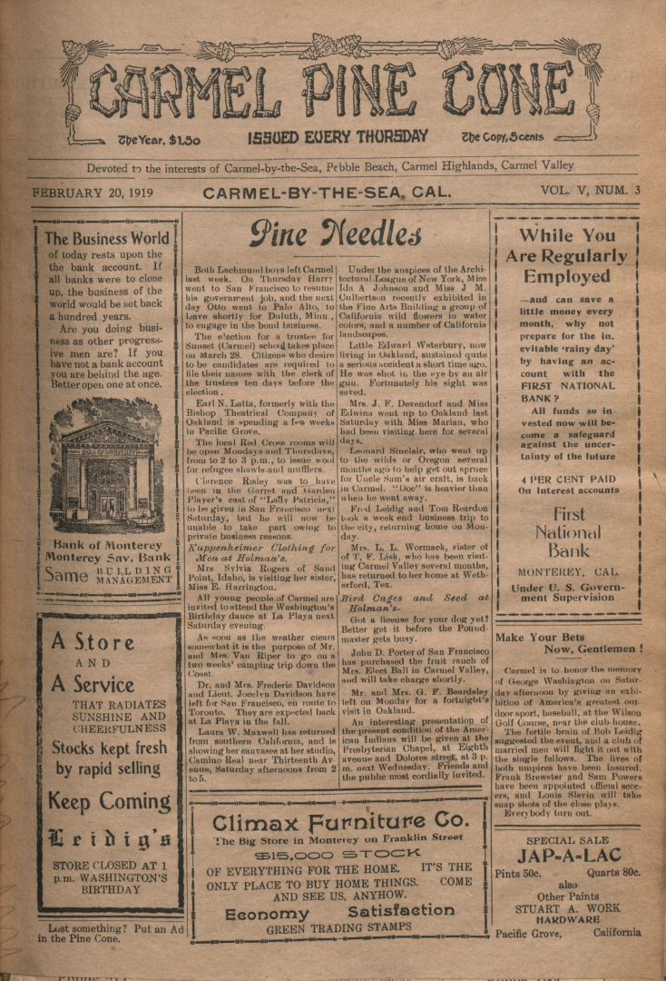 front page of the                 February 20, 1919, Carmel Pine Cone