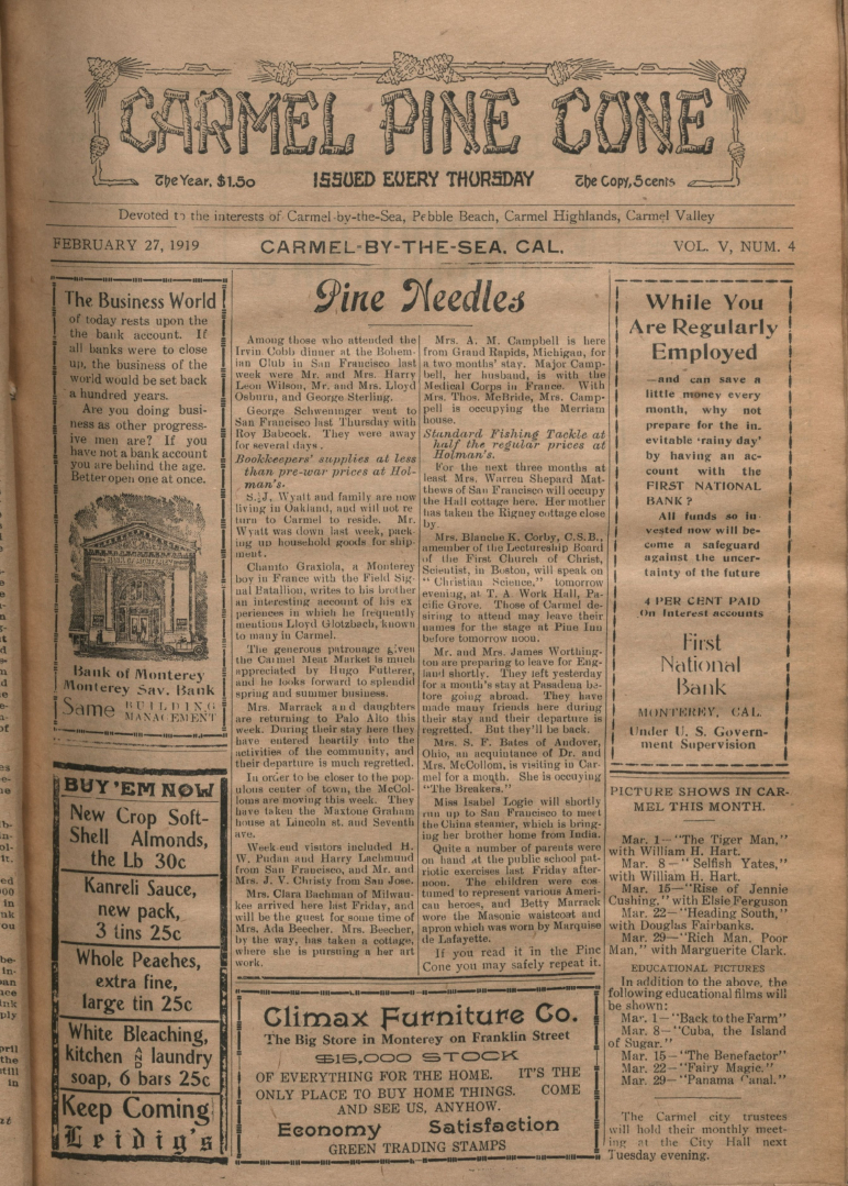 front page of the                 February 27, 1919, Carmel Pine Cone