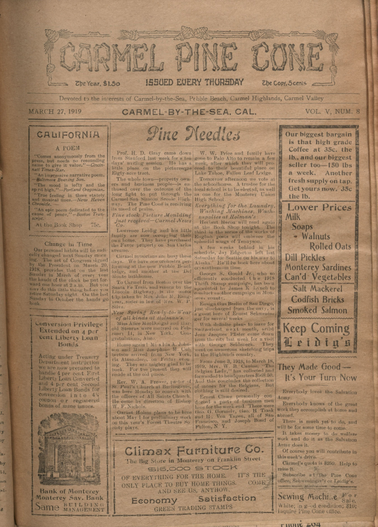 front page of the                 March 27, 1919, Carmel Pine Cone