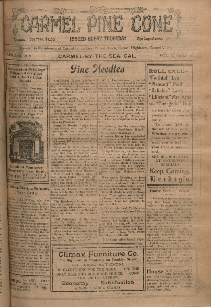 front page of the                 April 10, 1919, Carmel Pine Cone