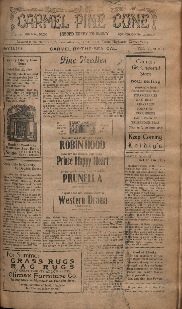 front page of the May                 15, 1919, Carmel Pine Cone