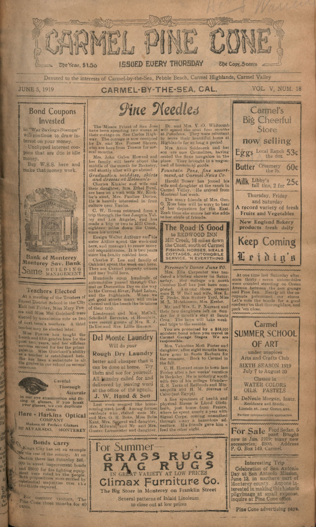 Front page of the                 June 5, 1919, Carmel Pine Cone