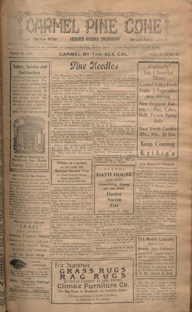Front page of the                 June 19, 1919, Carmel Pine Cone