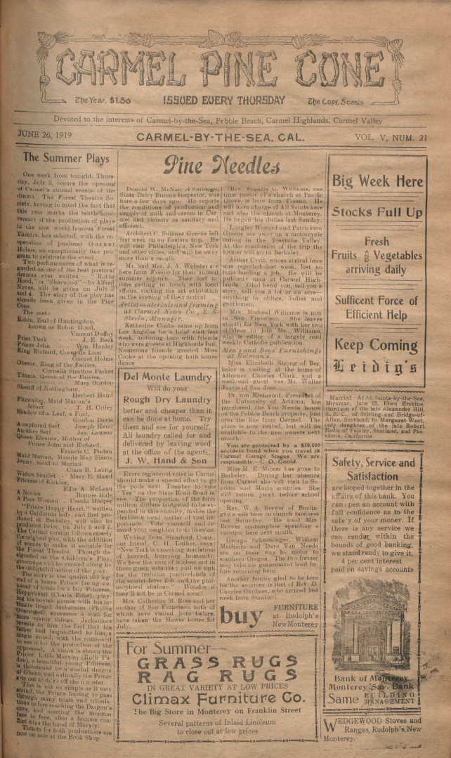 Front page of the                 June 26, 1919, Carmel Pine Cone
