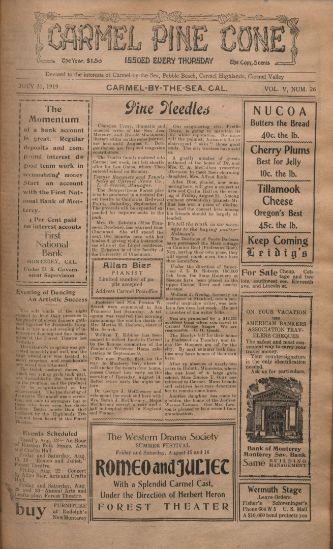 front page of the                 July 31, 1919, Carmel Pine Cone