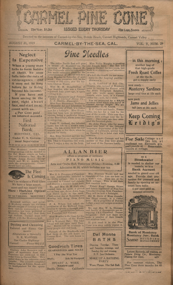 front page of the                 August 21, 1919, Carmel Pine Cone