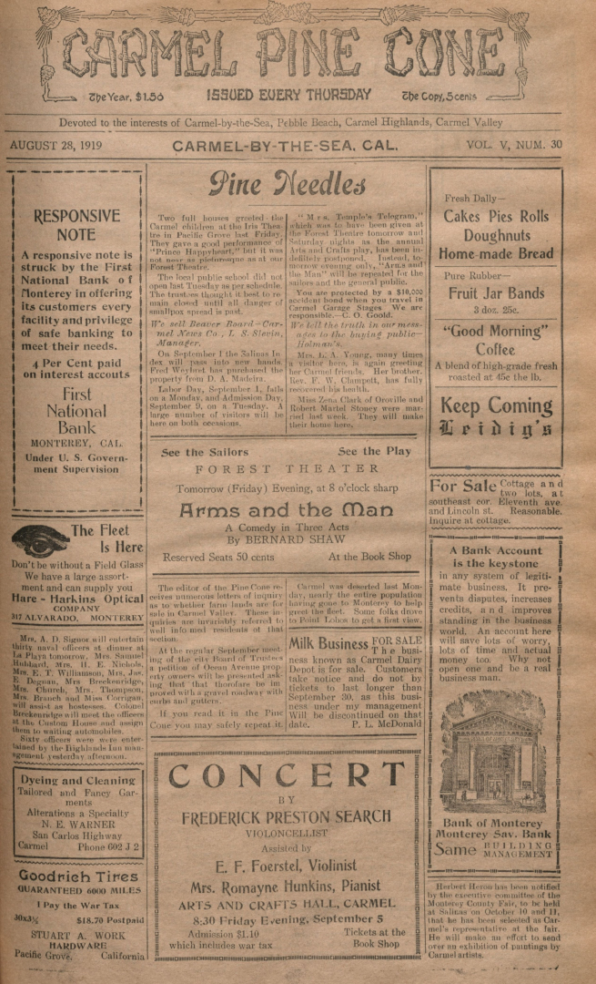 front page of the                 August 28, 1919, Carmel Pine Cone