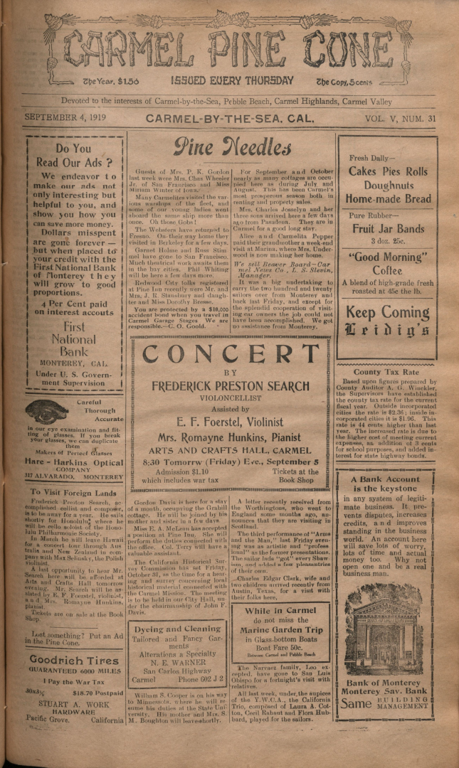 Front page of the                 September 4, 1919, Carmel Pine Cone