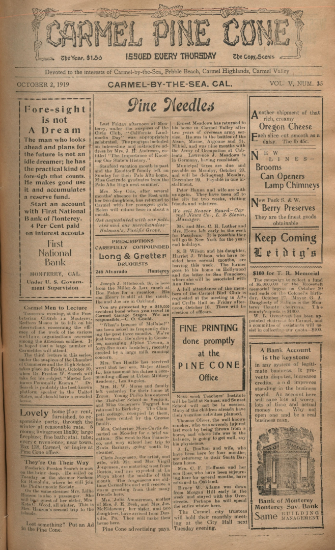 front page of the                 October 2, 1919, Carmel Pine Cone