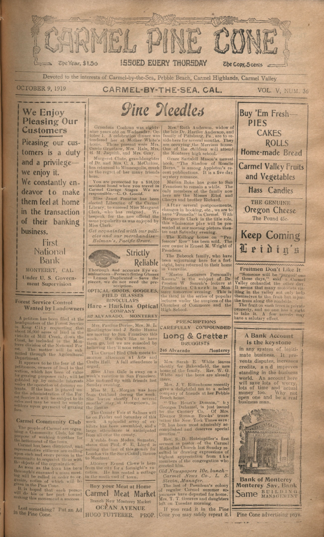 front page of the                 October 9, 1919, Carmel Pine Cone