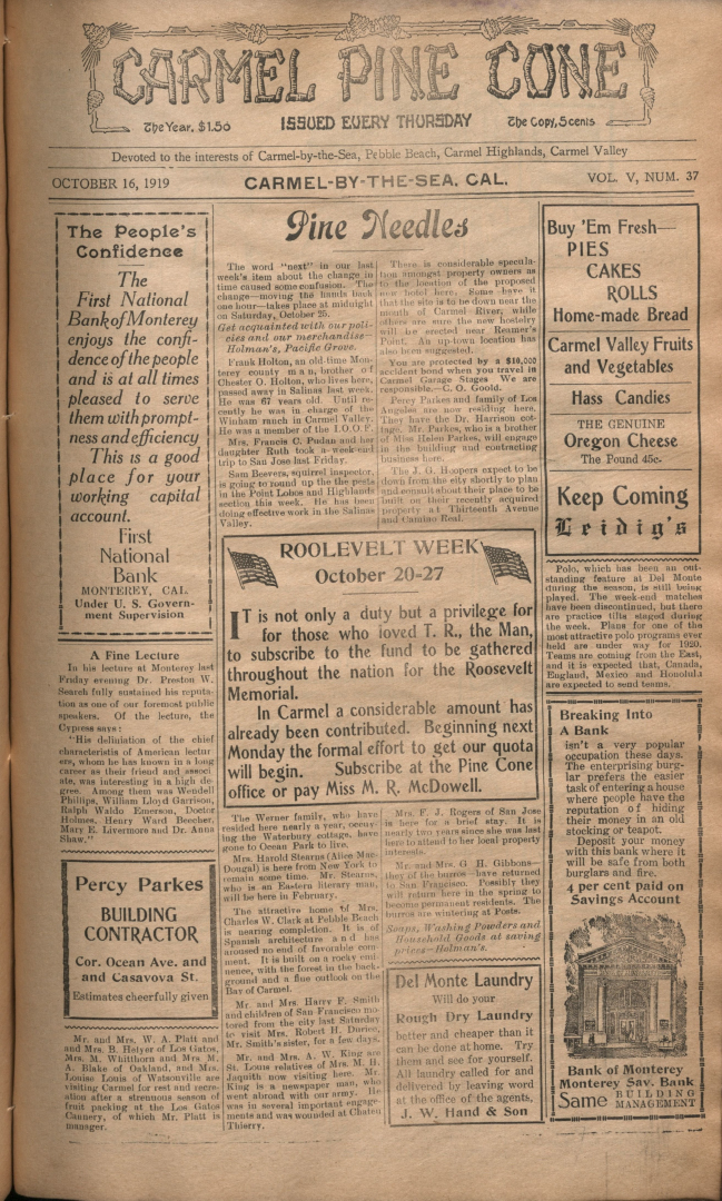 front page of the                 October 16, 1919, Carmel Pine Cone