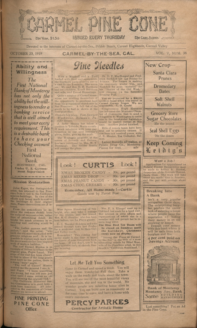 front page of the                 October 23, 1919, Carmel Pine Cone