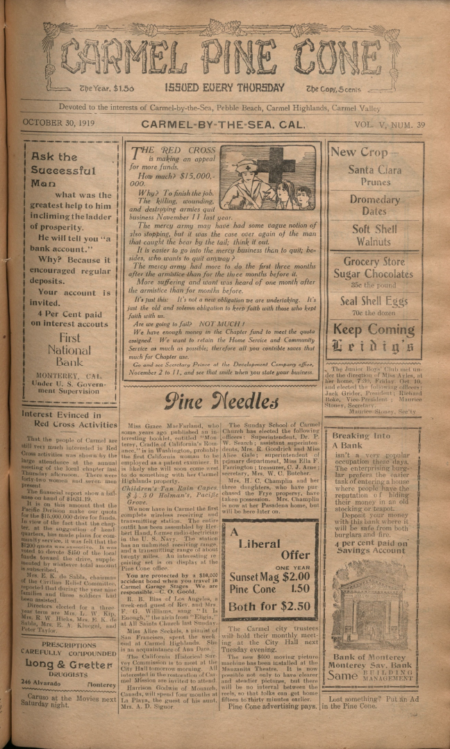 front page of the                 October 30, 1919, Carmel Pine Cone
