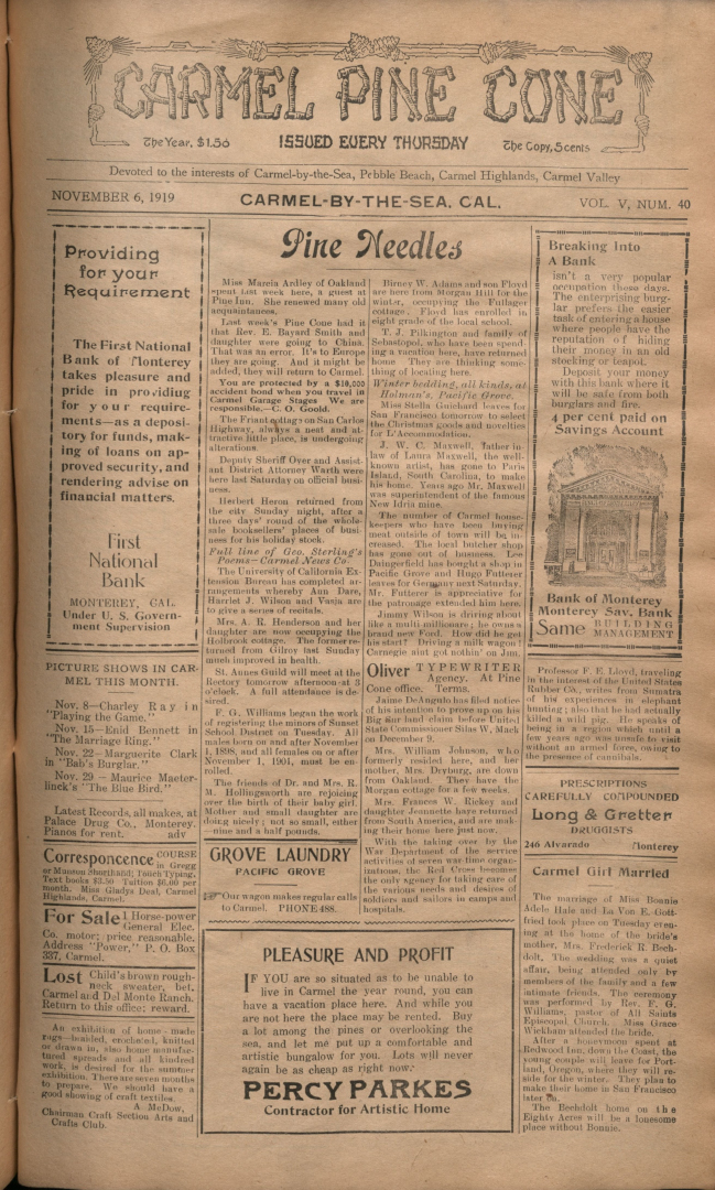 front page of the                 November 6, 1919, Carmel Pine Cone