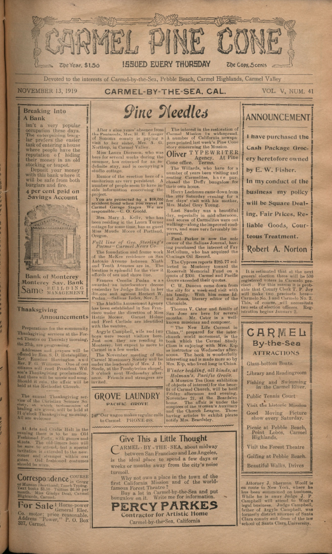 front page of the                 November 13, 1919, Carmel Pine Cone