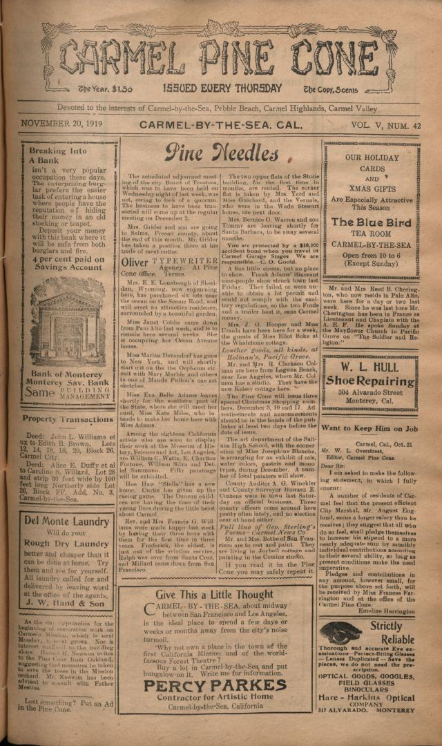 front page of the                 November 20, 1919, Carmel Pine Cone
