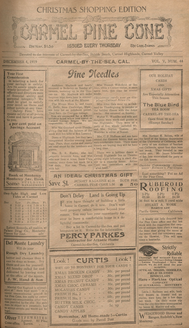 Front page of the                 December 4, 1919, Carmel Pine Cone