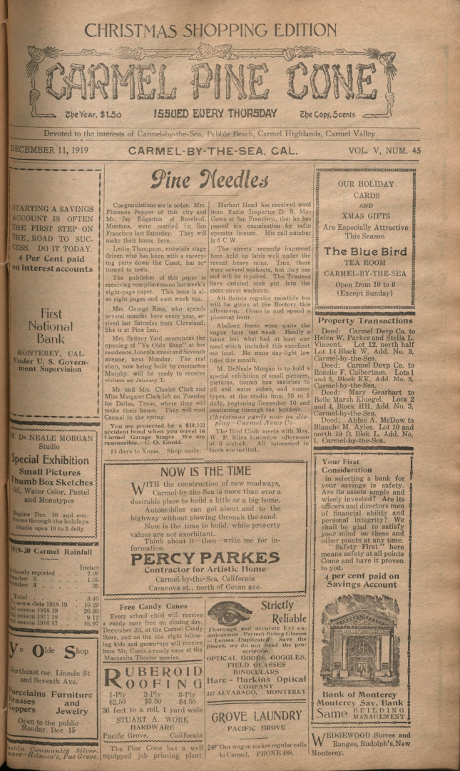 Front page of the                 December 11, 1919, Carmel Pine Cone